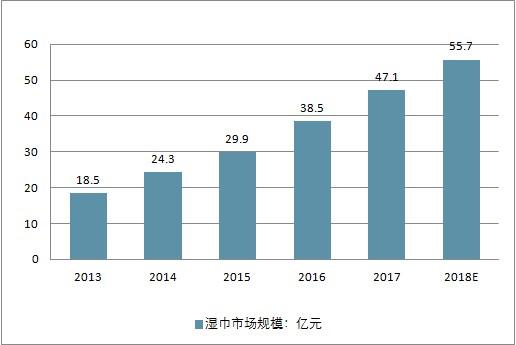 2013-2018中国湿巾市场规模变化